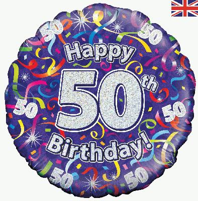 18inch 50th Birthday Streamers Holographic Balloon