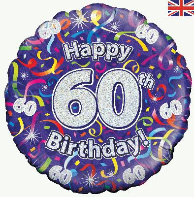 18inch 60th Birthday Streamers Holographic Balloon