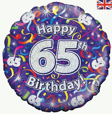 18inch 65th Birthday Streamers Holographic Balloon