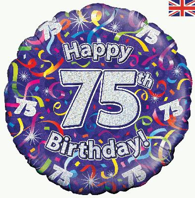 18inch 75th Birthday Streamers Holographic Balloon