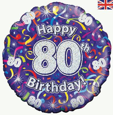 18inch 80th Birthday Streamers Holographic Balloon