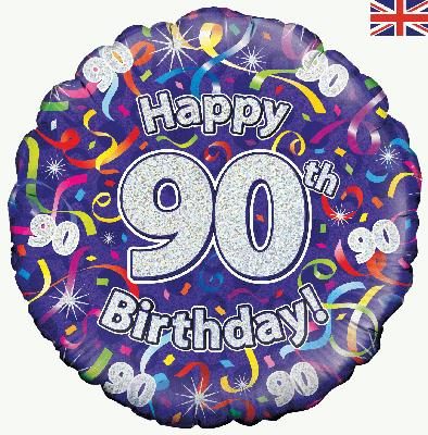 18inch 90th Birthday Streamers Holographic Balloon