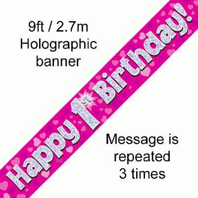 Pink 1st Birthday Banner