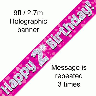 Pink 2nd Birthday Banner