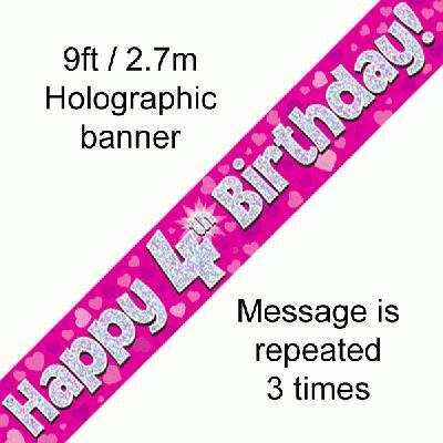 Pink 4th Birthday Banner
