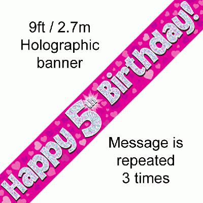 Pink 5th Birthday Banner