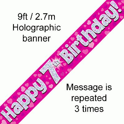 Pink 7th Birthday Banner