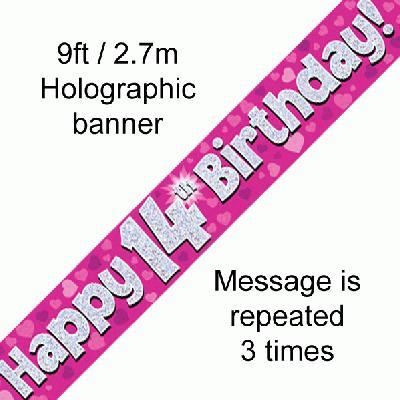 Pink 14th Birthday Banner