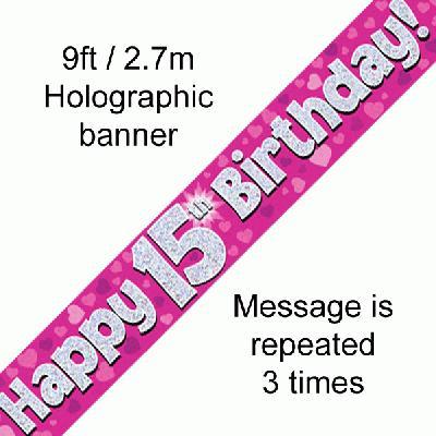 Pink 15th Birthday banner