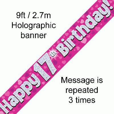 Pink 17th Birthday Banner