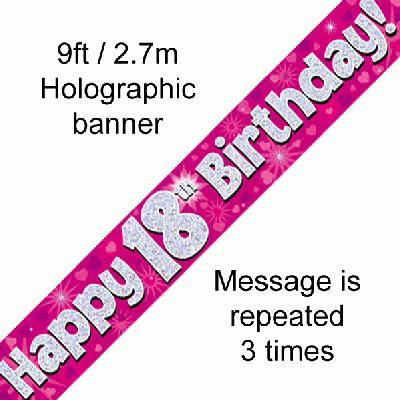 Pink 18th Birthday Banner