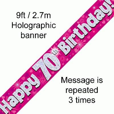 Pink 70th Birthday Banner