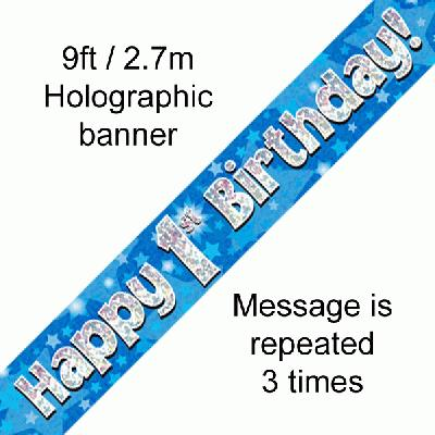 Blue 1st Birthday Banner
