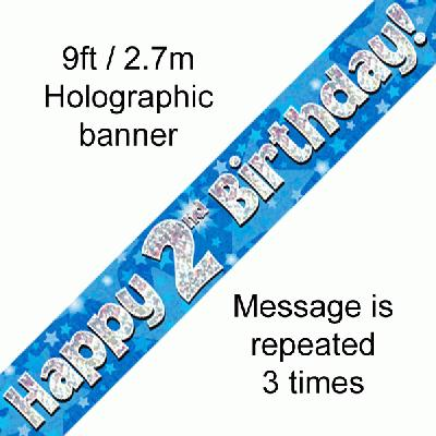 Blue 2nd Birthday banner