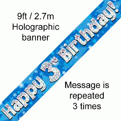 Blue 3rd Birthday Banner