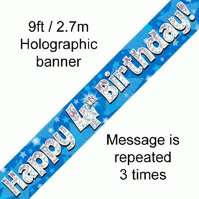 Blue 4th Birthday Banner