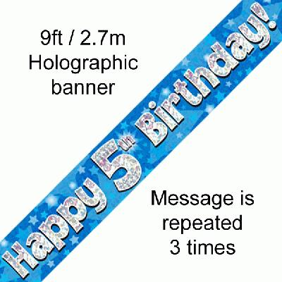Blue 5th Birthday Banner