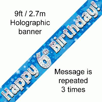 Blue 6th Birthday Banner