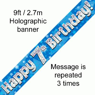 Blue 7th Birthday Banner