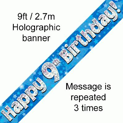 Blue 9th Birthday banner