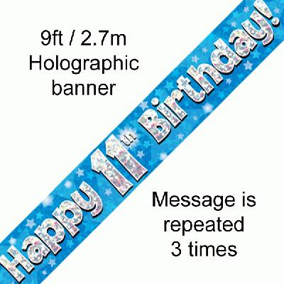 Blue 11th Birthday Banner