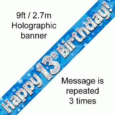 Blue 13th Birthday Banner