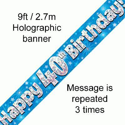 Blue 40th Birthday Banner