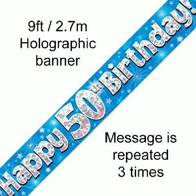 Blue 50th Birthday Banner