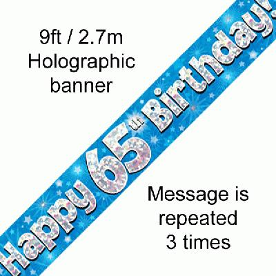 Blue 65th Birthday Banner