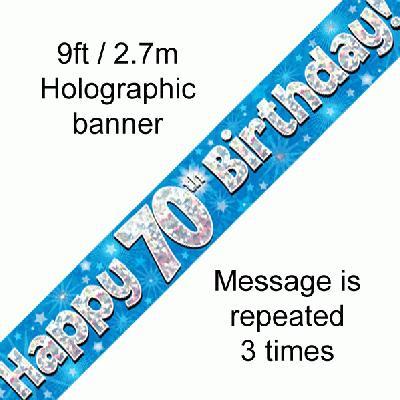 Blue 70th Birthday Banner