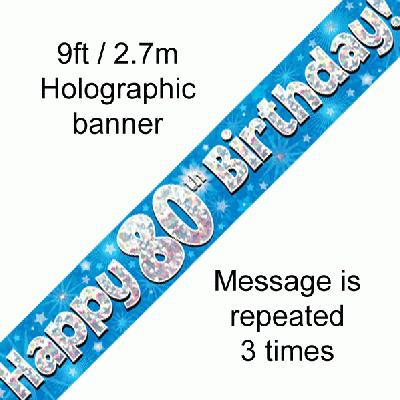 Blue 80th Birthday Banner