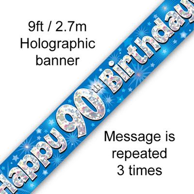 Blue 90th Birthday Banner
