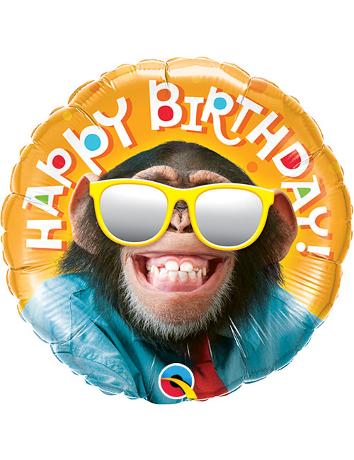 "18"" Birthday Smilin Chimp Balloon"
