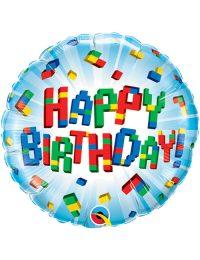 18inch Happy Birthday Exploding Blocks Balloon