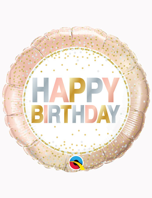 18inch Happy Birthday Metallic Dots Balloon