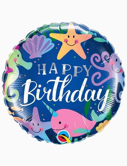 18inch Happy Birthday Fun Under the Sea Balloon