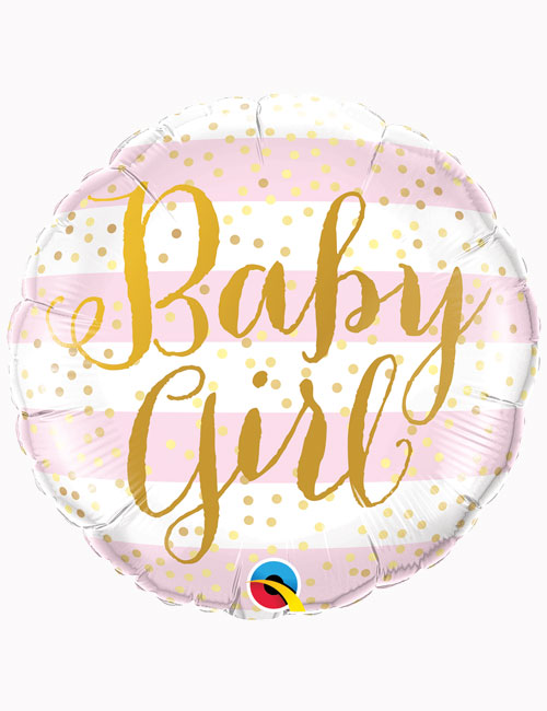 18inch Baby Girl Pink Stripes Balloon