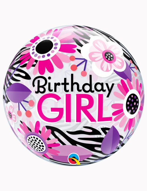 "22"" Bubble Birthday Girl Floral Zebra Stripes"