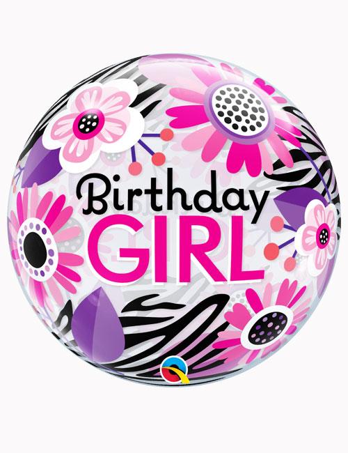 "22"" Bubble Birthday Girl Floral Zebra Stripes"