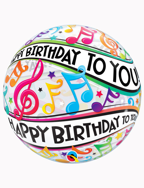 "22"" Bubble Happy Birthday To You Music Notes"