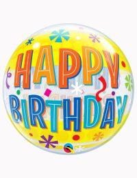 "22"" Bubble Birthday Fun & Yellow Bands"