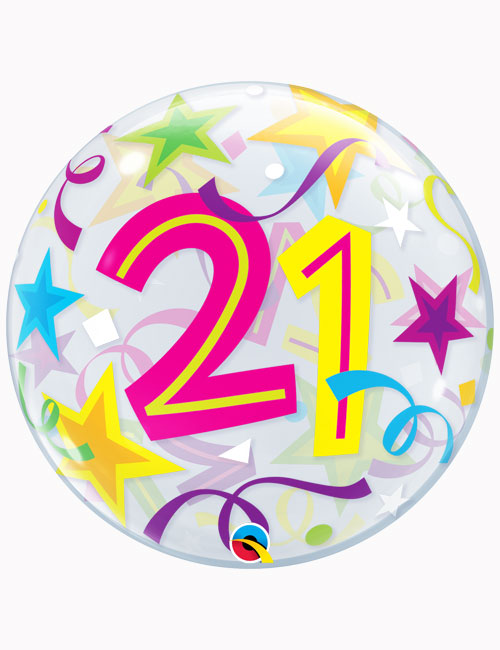 """22"""" Bubble 21st Brilliant Stars"""