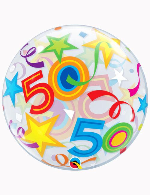 """22"""" Bubble 50th Brilliant Stars"""