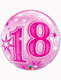 "22"" Bubble 18th Pink Starburst Sparkle"