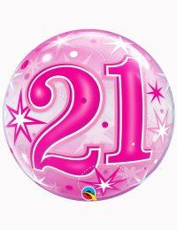 """22"""" Bubble 21st Pink Starburst Sparkle"""