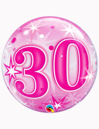 "22"" Bubble 30th Pink Starburst Sparkle"