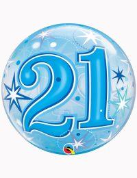 """22"""" Bubble 21st Blue Starburst Sparkle"""