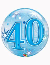 """22"""" Bubble 40th Blue Starburst Sparkle"""
