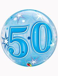 """22"""" Bubble 50th Blue Starburst Sparkle"""