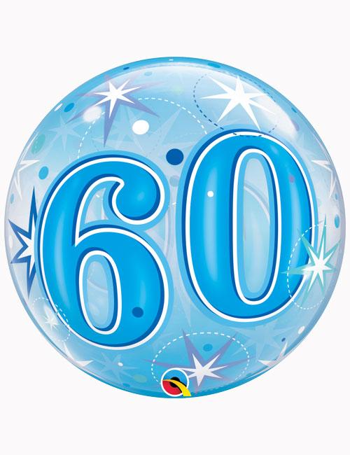 """22"""" Bubble 60th Blue Starburst Sparkle"""
